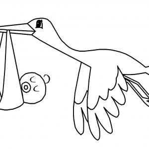 Cigogne 01 - motif à imprimer