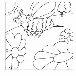 Fleurs et abeille 02 - motif à imprimer