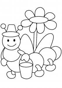 Fleurs et chenille 01 - motif à imprimer
