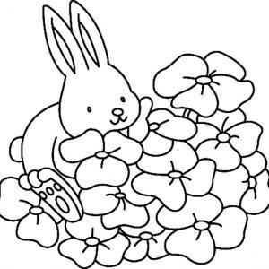 Fleurs et lapin 02 - motif à imprimer