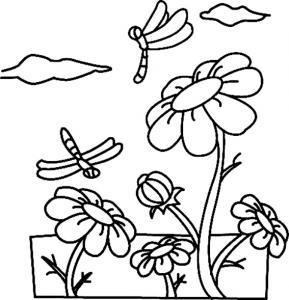 Fleurs et libellules 01 - motif à imprimer