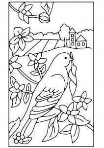 Fleurs et oiseau 01 - motif à imprimer