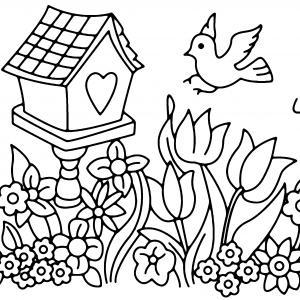 Fleurs et oiseau 02 - motif à imprimer