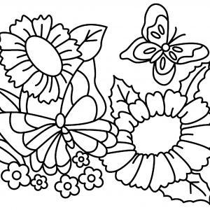 Fleurs et papillons 01 - motif à imprimer