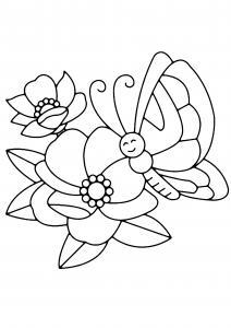Fleurs et papillons 02 - motif à imprimer