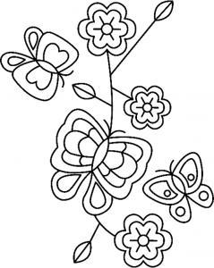 Fleurs et papillons 04 - motif à imprimer