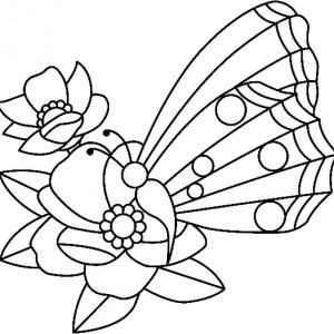 Fleurs et papillons 05 - motif à imprimer