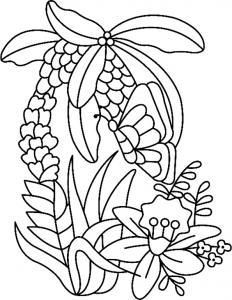 Fleurs et papillons 06 - motif à imprimer