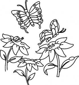 Fleurs et papillons 07 - motif à imprimer