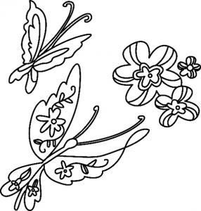 Fleurs et papillons 09 - motif à imprimer