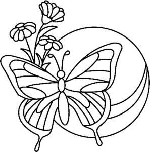 Fleurs et papillons 11 - motif à imprimer