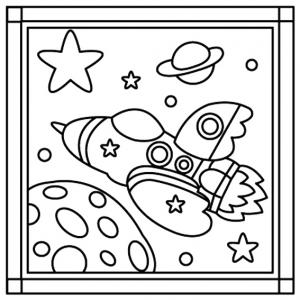 Fusée 04 - motif à imprimer