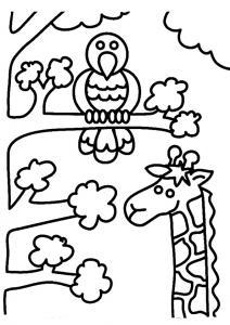 Girafe et oiseau - motif à imprimer