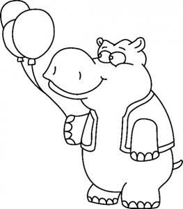 Hippopotame 03 - motif à imprimer