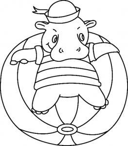 Hippopotame 04 - motif à imprimer