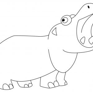 Hippopotame 06 - motif à imprimer