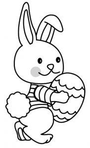 Un coloriage paques représentant un petit lapin tenant un oeuf dans ses bras. Un motif à décorer à télécharger et à imprimer pour votre enfant. Une fois imprimé, ce motif peut se reporter sur du bois, du verre, de la terre cuite, du carton, du papier ou m