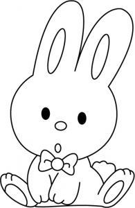 Un coloriage paques représentant un petit lapin avec noeud papillon. Un motif à décorer à télécharger et à imprimer pour votre enfant. Une fois imprimé, ce motif peut se reporter sur du bois, du verre, de la terre cuite, du carton, du papier ou même du te