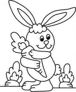 Un coloriage paques représentant un lapin tenant une carotte. Un motif à décorer à télécharger et à imprimer pour votre enfant. Une fois imprimé, ce motif peut se reporter sur du bois, du verre, de la terre cuite, du carton, du papier ou même du textile.