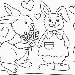Un coloriage paques représentant deuxlapins amoureux avec des coeurs. Un motif à décorer à télécharger et à imprimer pour votre enfant. Une fois imprimé, ce motif peut se reporter sur du bois, du verre, de la terre cuite, du carton, du papier ou même du