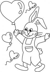Un coloriage paques représentant un lapin et sesballons coeur. Un motif à décorer à télécharger et à imprimer pour votre enfant. Une fois imprimé, ce motif peut se reporter sur du bois, du verre, de la terre cuite, du carton, du papier ou même du textile