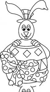 Un coloriage paques représentant un lapin avec son oeuf de Pâques géant. Un motif à décorer à télécharger et à imprimer pour votre enfant. Une fois imprimé, ce motif peut se reporter sur du bois, du verre, de la terre cuite, du carton, du papier ou même d