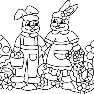 Un coloriage paques représentant des lapins avec leurs paniers d'oeufs et de fleurs. Un motif à décorer à télécharger et à imprimer pour votre enfant. Une fois imprimé, ce motif peut se reporter sur du bois, du verre, de la terre cuite, du carton, du papi