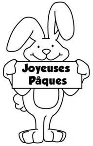 """Un coloriage paques représentant un lapin souhaitant """"Joyeuses Pâques"""". Un motif à décorer à télécharger et à imprimer pour votre enfant. Une fois imprimé, ce motif peut se reporter sur du bois, du verre, de la terre cuite, du carton, du papier ou même du"""