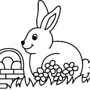 Un coloriage paques représentant un lapin avec son panier d'oeuf de Pâques. Un motif à décorer à télécharger et à imprimer pour votre enfant. Une fois imprimé, ce motif peut se reporter sur du bois, du verre, de la terre cuite, du carton, du papier ou mêm