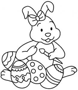 Un coloriage paques représentant un lapin peigant des oeufs de Pâques. Un motif à décorer à télécharger et à imprimer pour votre enfant. Une fois imprimé, ce motif peut se reporter sur du bois, du verre, de la terre cuite, du carton, du papier ou même du