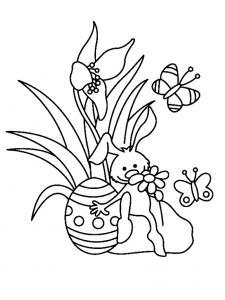 Un coloriage paques représentant un lapin avec son oeuf et sa fleurs. Un motif à décorer à télécharger et à imprimer pour votre enfant. Une fois imprimé, ce motif peut se reporter sur du bois, du verre, de la terre cuite, du carton, du papier ou même du t