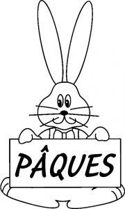 """Un coloriage paques représentant un lapin """"Pâques"""". Un motif à décorer à télécharger et à imprimer pour votre enfant. Une fois imprimé, ce motif peut se reporter sur du bois, du verre, de la terre cuite, du carton, du papier ou même du textile. Une activi"""