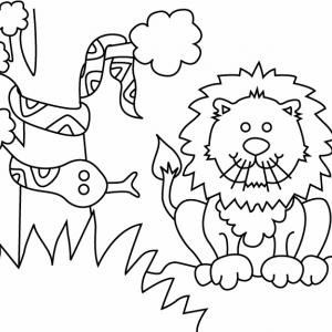 Lion et serpent 01 - motif à imprimer