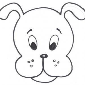 Une tête de chien à imprimer gratuitement afin de pouvoir la colorier en famille