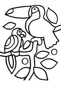 Toucan et perroquet 01 - motif à imprimer
