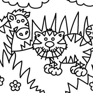 Zèbre et chat 01 - motif à imprimer