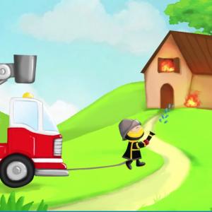 Au feu les pompiers, la comptine pour enfants à regarder en vidéo. Découvrez également les paroles de la chanson et le texte à imprimer. Le texte est accompagné d'un dessin de pompier à colorier pour les enfants.