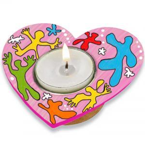 Bougeoir cœur à la manière de Keith Haring