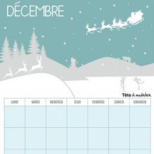 Le calendrier perpétuel du mois de décembre à télécharger et à imprimer gratuitement