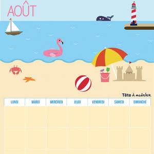 Le calendrier perpétuel du mois d'Août à télécharger et à imprimer gratuitement