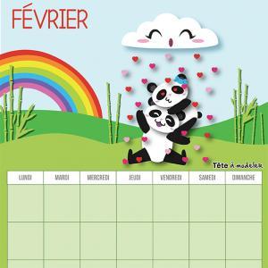 Le calendrier perpétuel du mois de février à télécharger et à imprimer gratuitement