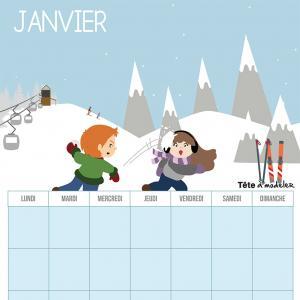 Le calendrier perpétuel du mois de janvier à télécharger et à imprimer gratuitement