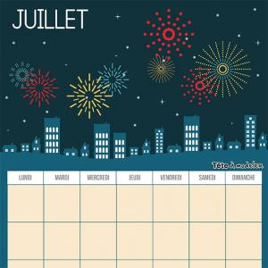 Le calendrier perpétuel du mois de juillet à télécharger et à imprimer gratuitement