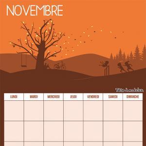 Le calendrier perpétuel du mois de novembre à télécharger et à imprimer gratuitement