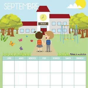Le calendrier perpétuel du mois de Septembre à télécharger et à imprimer gratuitement