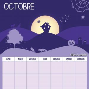 Le calendrier perpétuel du mois d'octobre à télécharger et à imprimer gratuitement