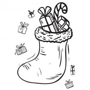 Carte cadeau à colorier : Chaussette de Noël. A imprimer et à colorier. Vous pourrez l'offrir avec vos cadeau à Noël.