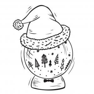 Carte cadeau à colorier : La boule de neige de Noël. Une carte à imprimer. Il faudra alors la colorier et y inscrire une petit mot doux afin de souhaiter un joyeux Noël. Vous pourrez alors l'offrir en même temps que les cadeaux de Noël.