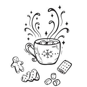Carte cadeau à colorier : chocolat chaud. Une carte à imprimer et à colorier afin de l'offrir en cadeau avec les autres présents le soir de Noël. Il suffira juste d'y écrire une petit mot doux pour la famille ou pour les amis.