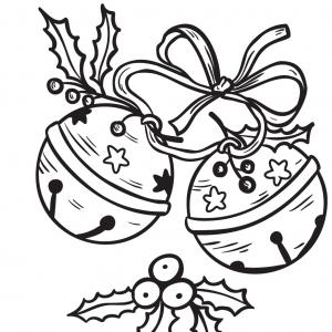 Carte cadeau à colorier : Grelots de Noël. Une carte à imprimer avec des clochettes de Noël. Il suffira de la colorier, d'y inscrire un petit mot doux pour souhaiter une joyeux Noël et de l'offrir avec les cadeaux de NoËl.